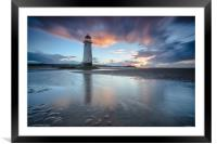 Point of Ayr sunset, Framed Mounted Print