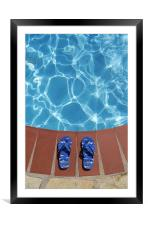 Flip flops by the pool, Framed Mounted Print