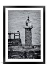 Whitby pier lighthouse, Framed Mounted Print