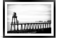 Whitby harbour pier monochrome, Framed Mounted Print