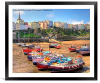 Tenby Colourful Fishing Boats, Framed Mounted Print