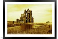 Whitby Abbey in Sepia, Framed Mounted Print