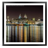 The Three Graces at night, Framed Mounted Print