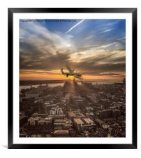 Lancaster Bomber from the Liverpool Cathedral, Framed Mounted Print