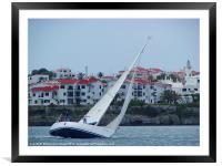 Yacht at full speed, Framed Mounted Print