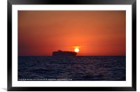 Container Ship At Dusk, Framed Mounted Print