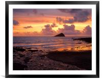 Wembury Bay Sunset, Framed Mounted Print