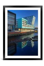 Modern Apartment Buildings next to River Don, Framed Mounted Print