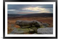 Over Owler Tor Sunset From Carl Wark, Framed Mounted Print