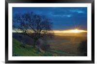 Longshaw Sunset, Framed Mounted Print