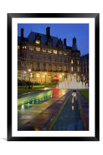 Sheffield Town Hall and Goodwin Fountain at Night , Framed Mounted Print