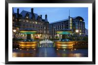 Sheffield Town Hall and Peace Gardens at Night , Framed Mounted Print