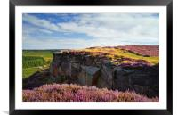 View along Burbage Rocks and Valley , Framed Mounted Print