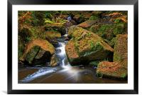 Wyming Brook Falls in Autumn, Framed Mounted Print