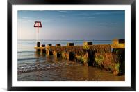 Sea Defences at Swanage Bay , Framed Mounted Print