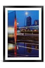 Sheaf Square Water Feature and City Centre , Framed Mounted Print