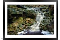 Crowden Clough Waterfalls                        , Framed Mounted Print