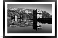 Derwent Dam and Reservoir in Mono                 , Framed Mounted Print