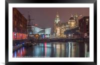 Liverpool at night, Framed Mounted Print