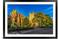 Exeter Cathedral in the glow of the morning Sun., Framed Mounted Print