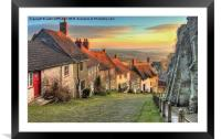 Winter Sunset Gold Hill Shaftesbury, Framed Mounted Print
