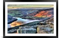Last Light Over Ladybower Reservoir, Framed Mounted Print