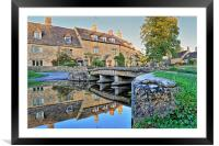 Lower Slaughter Ford Reflections, Framed Mounted Print