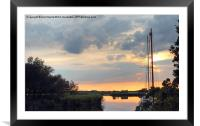 Sunset at horsey mere, Framed Mounted Print