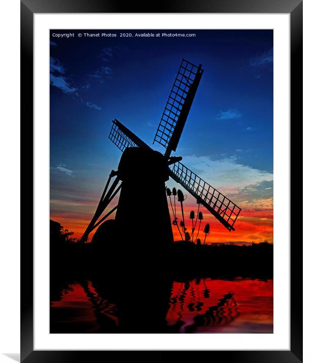 Buy Framed Mounted Prints of Windmill at sunset by Thanet Photos