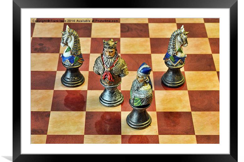 A Few Chess Pieces on a chess board Framed Mounted Print by Frank Irwin