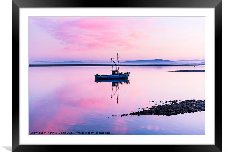 Buy Framed Mounted Prints of Morecambe Bay Boat - Pink Dawn by Keith Douglas