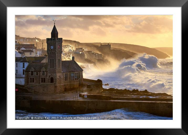 Buy Framed Mounted Prints of Stormy Morning (Porthleven)  by Andrew Ray
