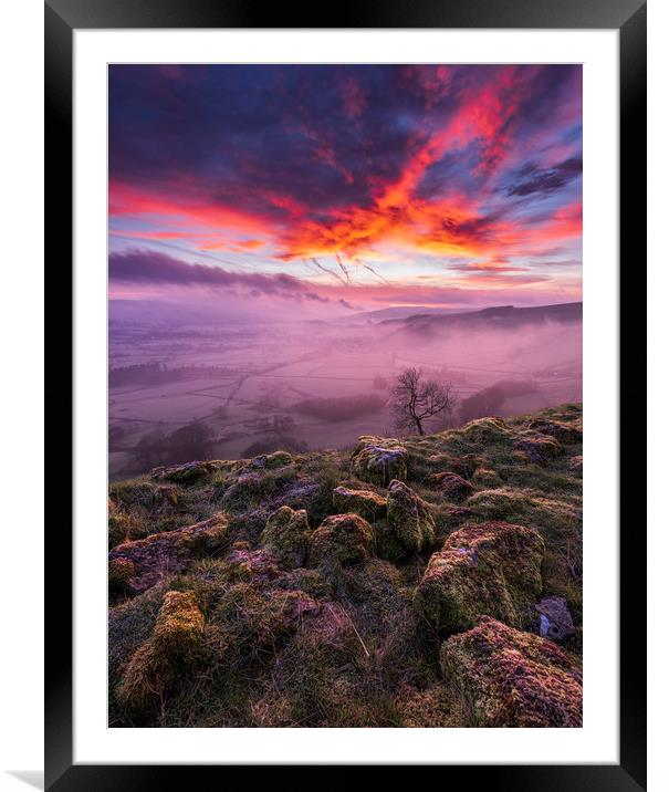 Buy Framed Mounted Prints of Red Sky in the Morning, Peak District  by John Finney