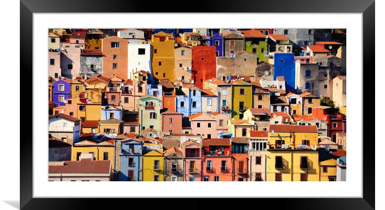Buy Framed Mounted Prints of Colorful houses in Bosa, Sardinia by federico stevanin