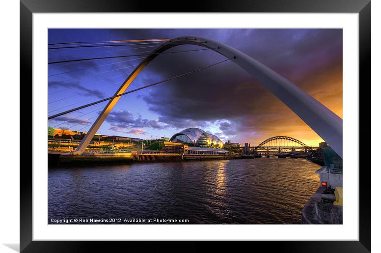 Buy Framed Mounted Prints of Fine Tyne sunset by Rob Hawkins