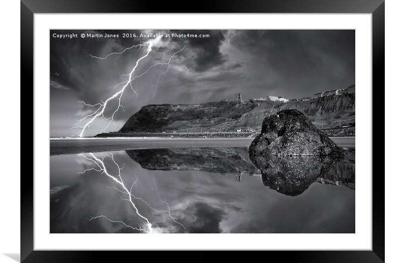 Buy Framed Mounted Prints of Lightning over Scarborough by Martin Jones