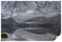 Grasmere lake with low cloud on a winter's day, Print