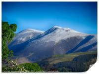 Skiddaw mountain covered in a dusting of snow , Print