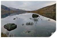 Loch Arklet reflection and snow capped Mountains, Print