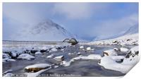 Buachaille Etive Mor and bridge from the river , Print