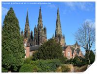 Lichfield three spire Medieval Cathedral., Print