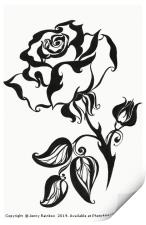 Ink Drawing Chinese Rose, Print