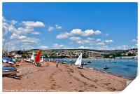 Busy day on Shaldon Beach by The River Teign, Print