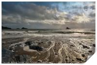 Meadfoot Beach view of Shag Rock and Thatcher Rock, Print