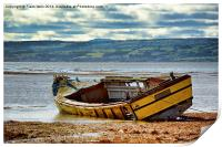 An abandoned and worse for wear boat, Print