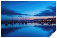 Torquay Harbour After Sunset., Print