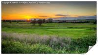 Sunset Over The Green , Print