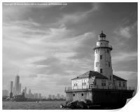 Chicago skyline and lighthouse from Lake Michigan, Print