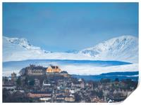 City of Stirling with snow covered Stuc a Chroin a, Print