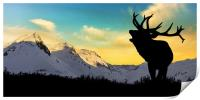 Deer with snowy mountains in the background,, Print